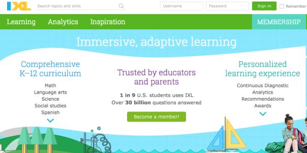 IXL Homepage